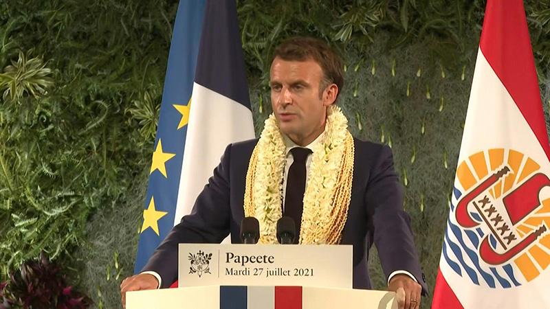 """٢٠٢١٠٧٢٩ ١٤٥٩٣٦ - #ماكرون يقر أن بلاده """"مَدينة"""" لبولينيزيا الفرنسية بسبب التجارب النووية.   #العبدلي_نيوز"""
